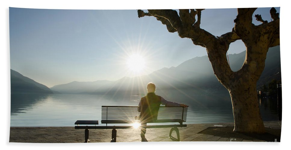 Man Bath Sheet featuring the photograph Bench And Sunset by Mats Silvan