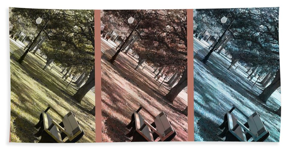 Triptych Bath Sheet featuring the photograph Bench In The Park Triptych by Susanne Van Hulst