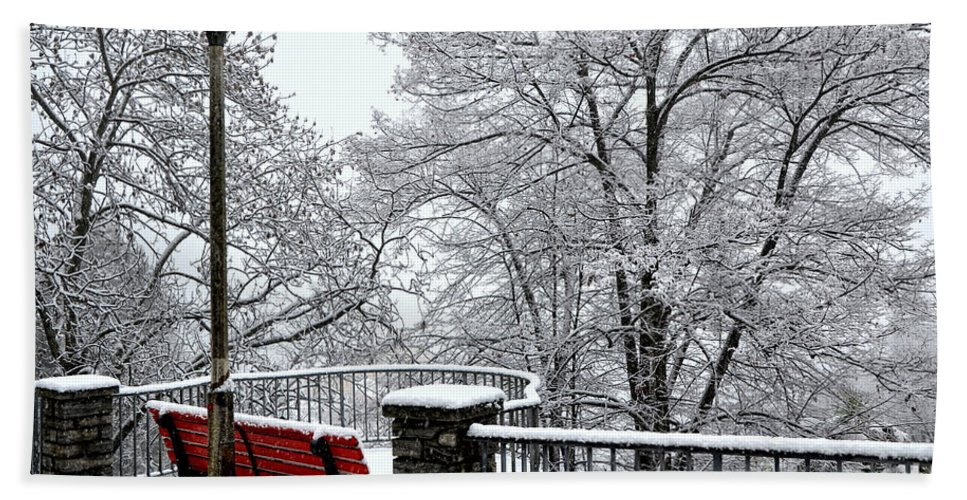 Bench Hand Towel featuring the photograph Bench With Snow by Mats Silvan