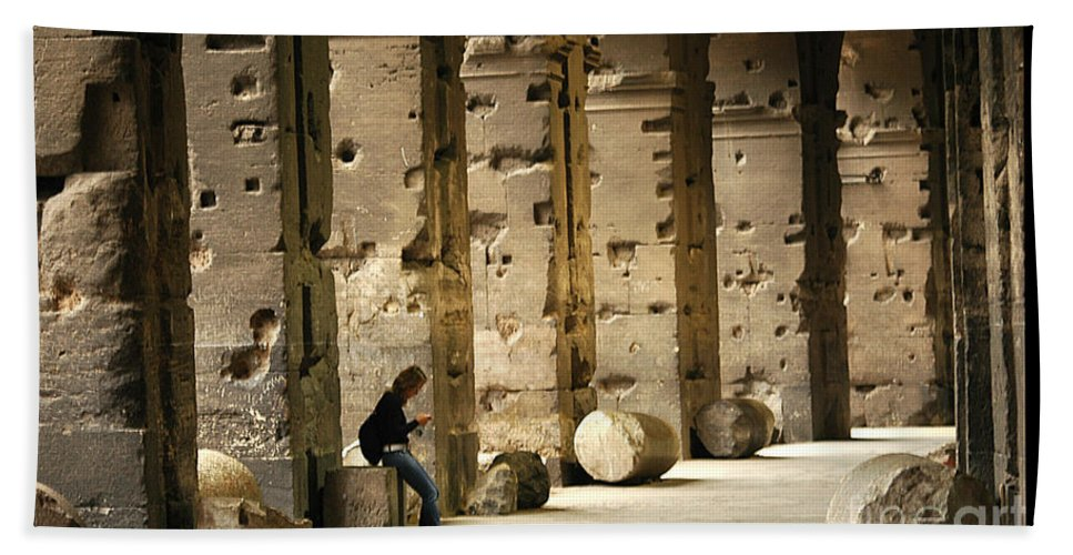 Colosseum Bath Sheet featuring the photograph Beneath The Colosseum by Mike Nellums