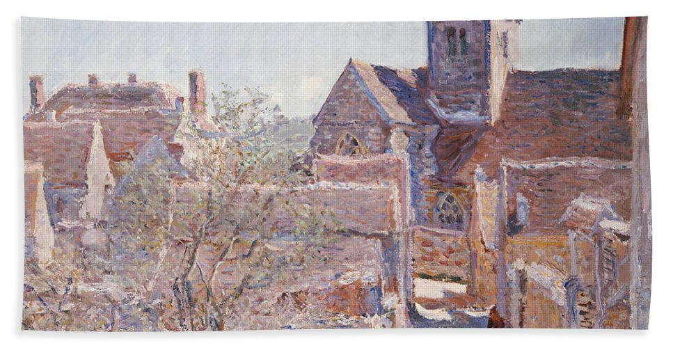 French Hand Towel featuring the painting Bennecourt by Claude Monet
