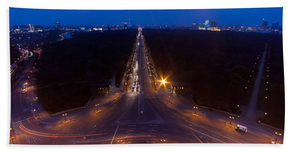 Berlin Hand Towel featuring the photograph Berlin From The Siegessaule by Mike Reid