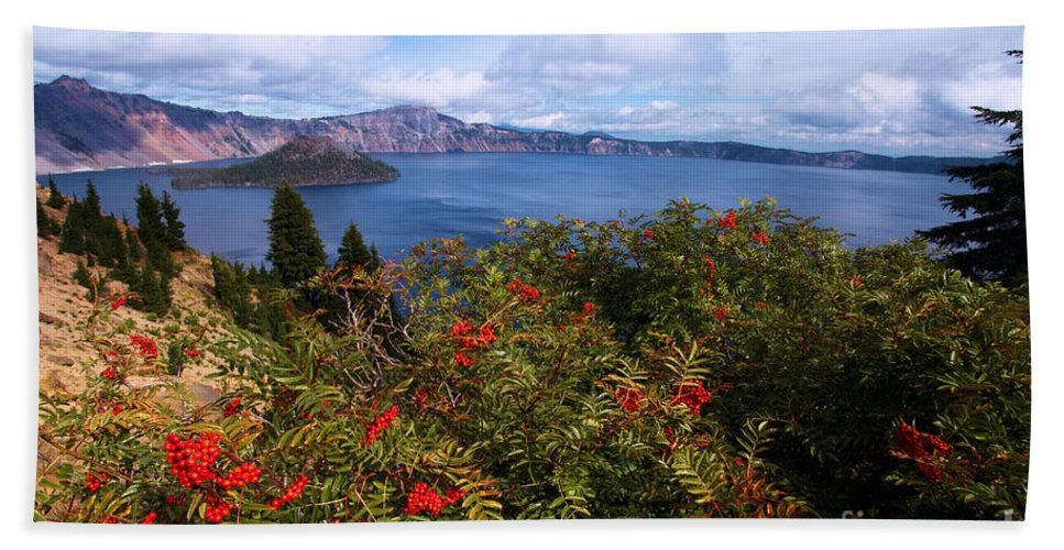 Crater Lake National Park Hand Towel featuring the photograph Berries By The Lake by Adam Jewell