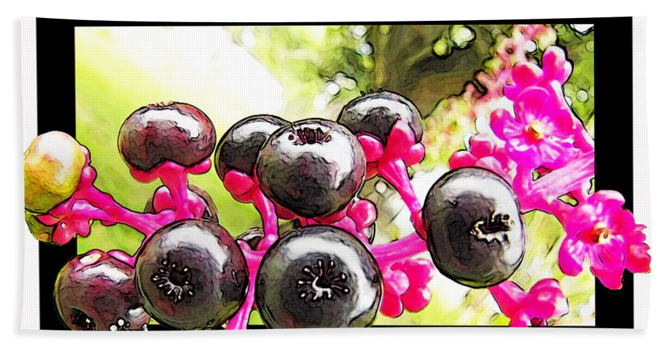 Nature Bath Sheet featuring the photograph Berry Burst  Poke Berries by Debbie Portwood