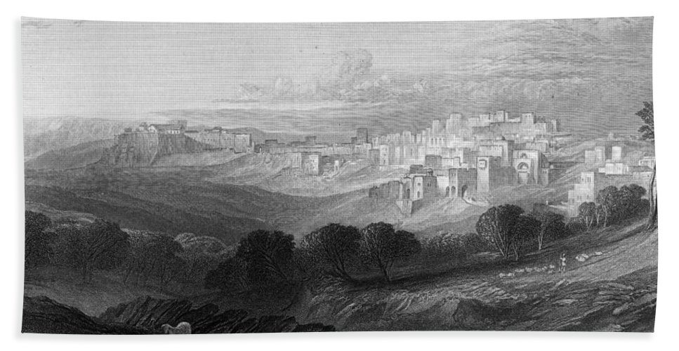 Bethlehem Hand Towel featuring the photograph Bethlehem Engraving By William Miller by Munir Alawi