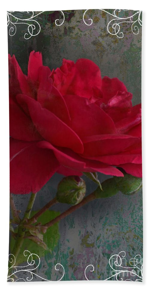 Nature Hand Towel featuring the photograph Betty's Red Rose II With Decorations by Debbie Portwood