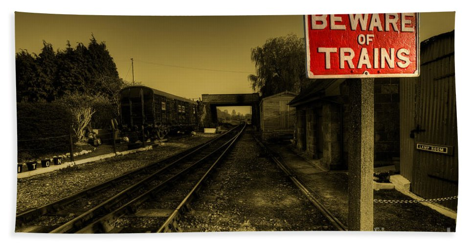 Beware Hand Towel featuring the photograph Beware Of Trains by Rob Hawkins