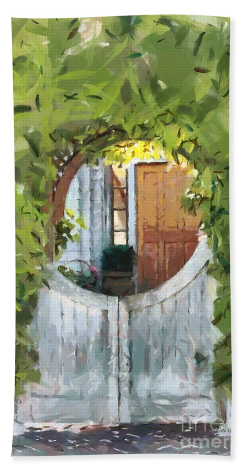 Gate Hand Towel featuring the painting Beyond The Gate - A Scene From Mackinac Island Michigan by Anne Kitzman