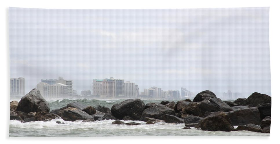 Gulf Of Mexico Bath Sheet featuring the photograph Beyond The Rocks by Travis Truelove