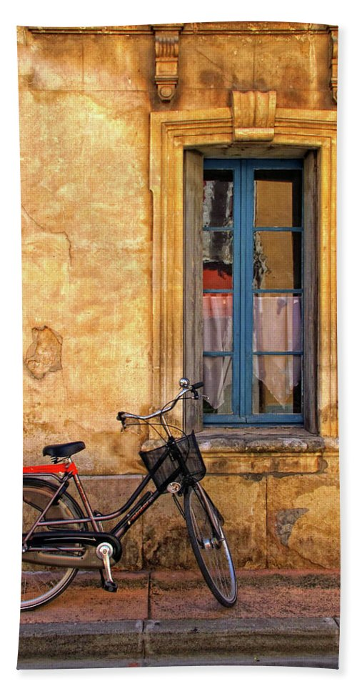 Bicycle Hand Towel featuring the photograph Bicycle And Window In France by Dave Mills