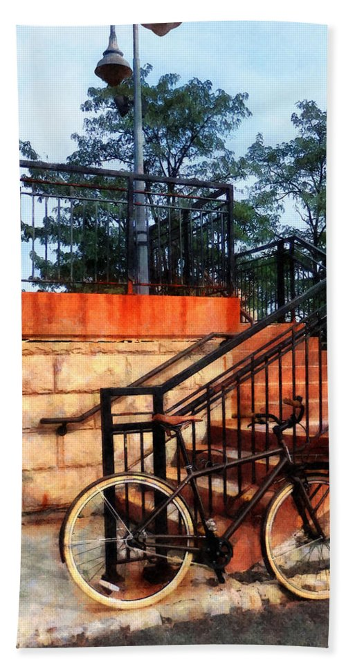 Bicycle Bath Sheet featuring the photograph Bicycle By Train Station by Susan Savad