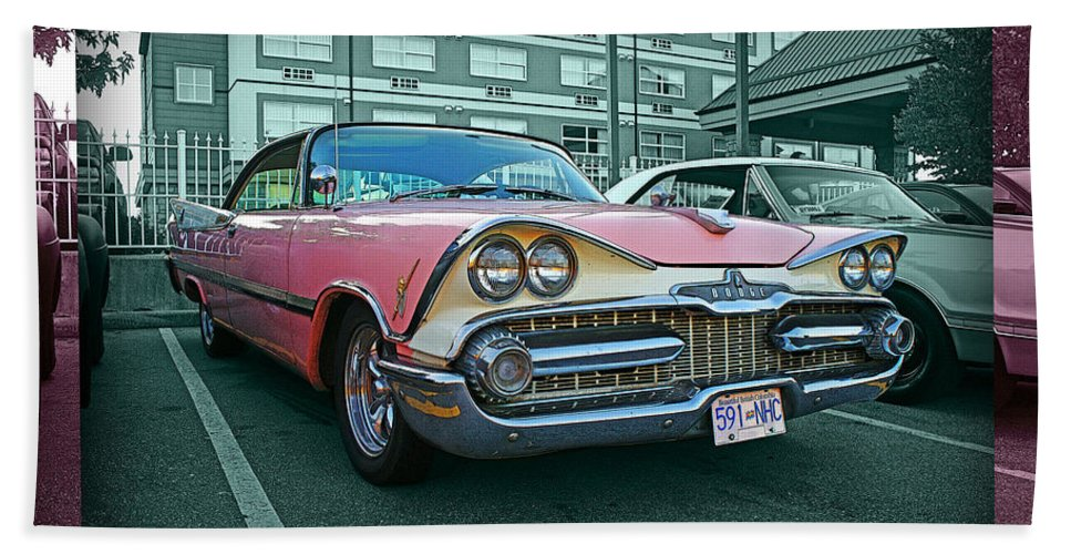 Old Cars Bath Sheet featuring the photograph Big Pink Dodge by Randy Harris