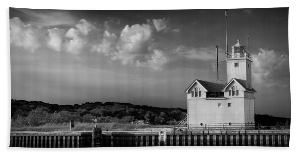 Art Bath Sheet featuring the photograph Big Red Lighthouse In Holland Michigan by Randall Nyhof