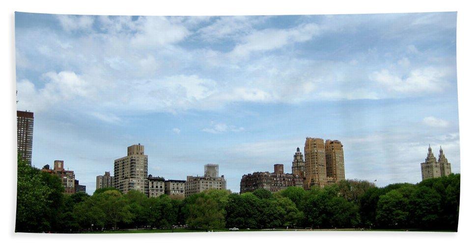 New York Bath Sheet featuring the photograph Big Sky Nyc by Lorraine Devon Wilke