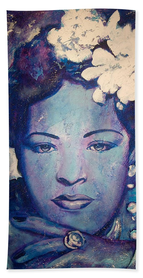 Billie Holiday Hand Towel featuring the painting Billie's Eyes by Jerome White