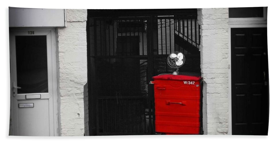 Fan Hand Towel featuring the photograph Bin by Charles Stuart