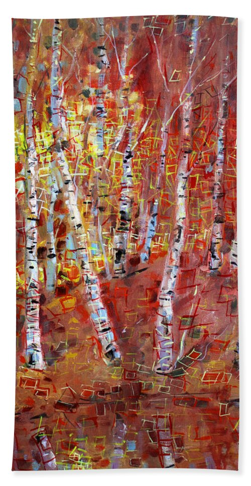 Birch Trees Bath Sheet featuring the painting Birch Trees by Viola El