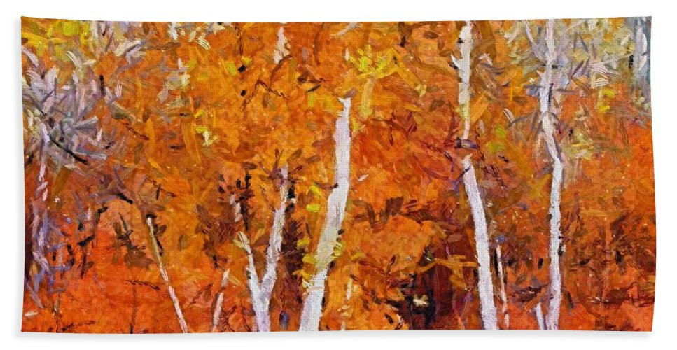 Fall Hand Towel featuring the painting Birch Trees In Autumn by Dragica Micki Fortuna