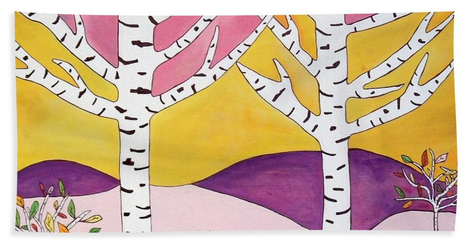 Landscape Bath Sheet featuring the painting Birch Trees by Kathy Augustine