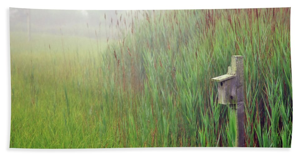 Quogue Wildlife Preserve Hand Towel featuring the photograph Bird House In Quogue Wildlife Preserve by Rick Berk