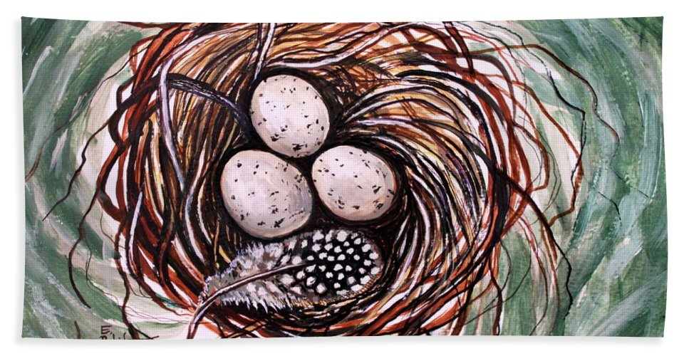 Bird Nest Bath Sheet featuring the painting Bird Nest And A Feather by Elizabeth Robinette Tyndall