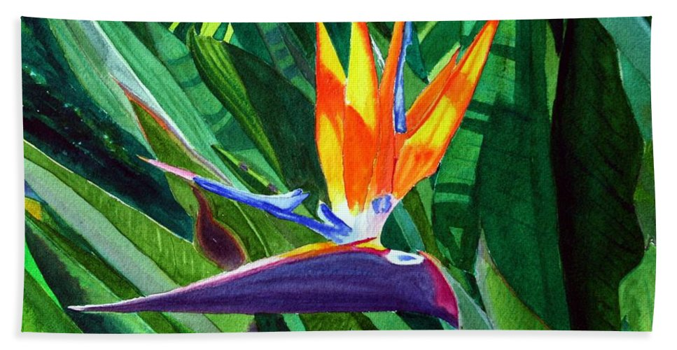 Flower Hand Towel featuring the painting Bird-of-paradise by Mike Robles