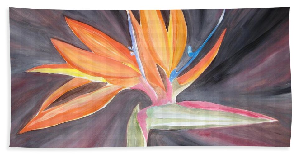 Hand Towel featuring the painting Bird Of Paradise by Wandeka Gayle