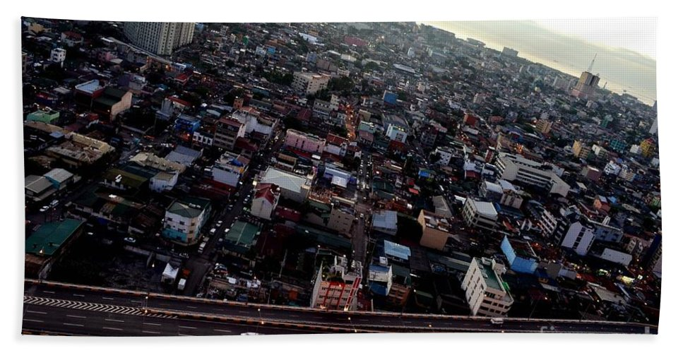City Bath Sheet featuring the photograph Birds Eye View Of The Pasay City by Christopher Shellhammer