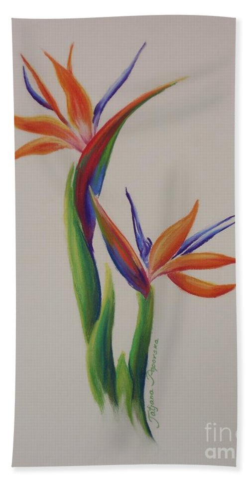 Drawing Hand Towel featuring the painting Birds Of Paradise -in Love by Tatjana Popovska
