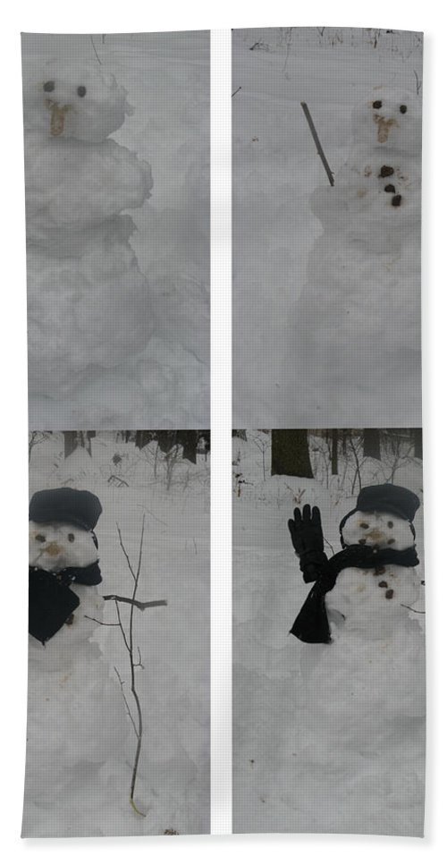 Snow Hand Towel featuring the photograph Birth Of A Snowman by Richard Bryce and Family