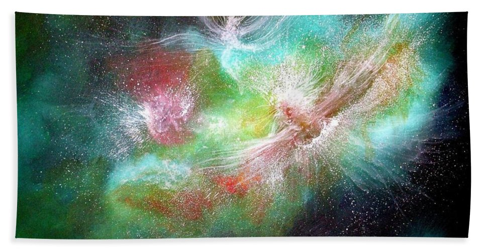 Angels Hand Towel featuring the painting Birth Of Angels by Naomi Walker