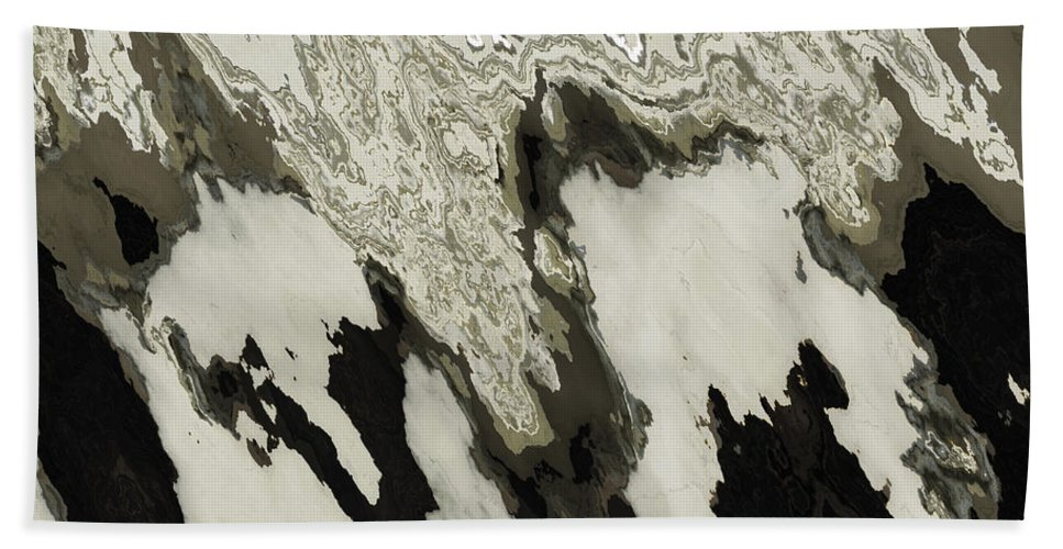 Abstract Bath Sheet featuring the digital art Black And White Abstract I by Debbie Portwood