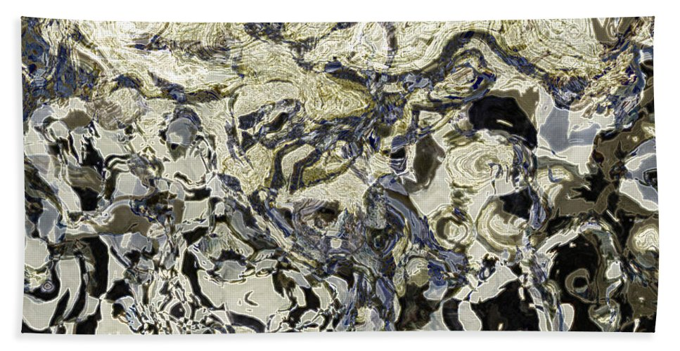 Abstract Bath Sheet featuring the digital art Black And White Abstract IIi by Debbie Portwood