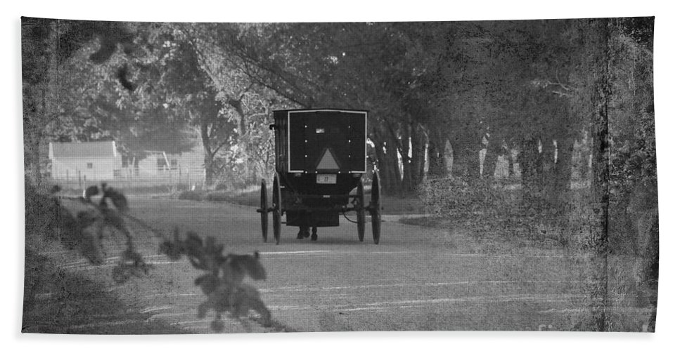 Amish Bath Sheet featuring the photograph Black And White Buggy by David Arment