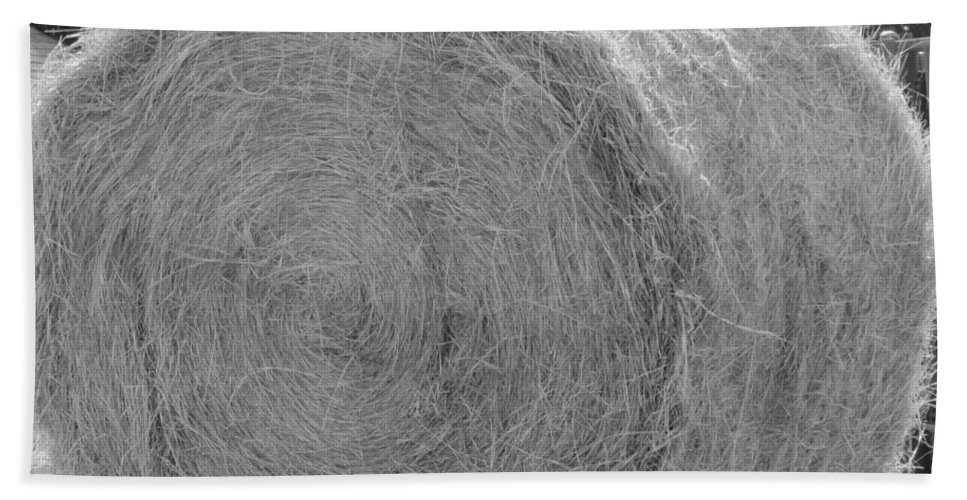 Livestock Hand Towel featuring the photograph Black And White Hay Ball by Michelle Powell