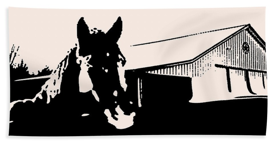 Bath Sheet featuring the photograph Black And White Horse by Shannon Harrington