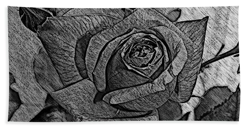 Rose Bath Sheet featuring the photograph Black And White Rose Sketch by Barbara Griffin