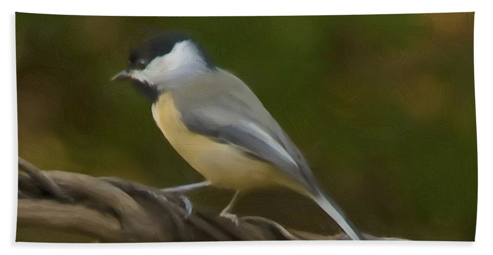 Black-capped Chickadee Hand Towel featuring the painting Black-capped Chickadee by Steven Richardson