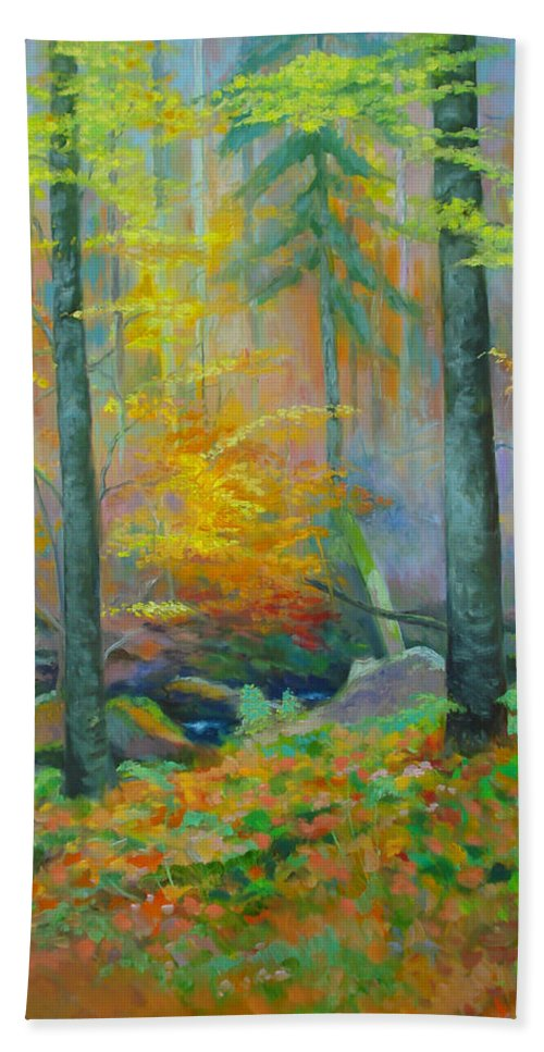 Forest Bath Towel featuring the painting Black Forest Stream by Dai Wynn