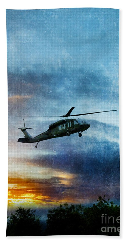 Helicopter Bath Sheet featuring the photograph Blackhawk Helicopter by Jill Battaglia