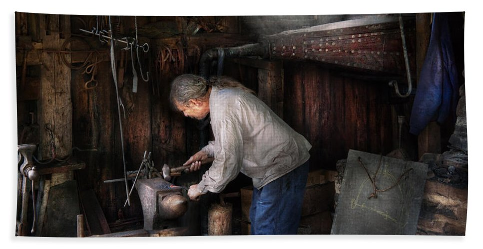 Blacksmith Bath Sheet featuring the photograph Blacksmith - Tinkering With Metal by Mike Savad
