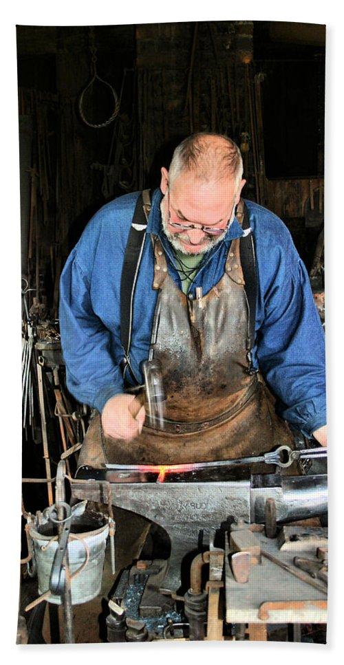Blacksmith Bath Sheet featuring the photograph Blacksmith by Kristin Elmquist