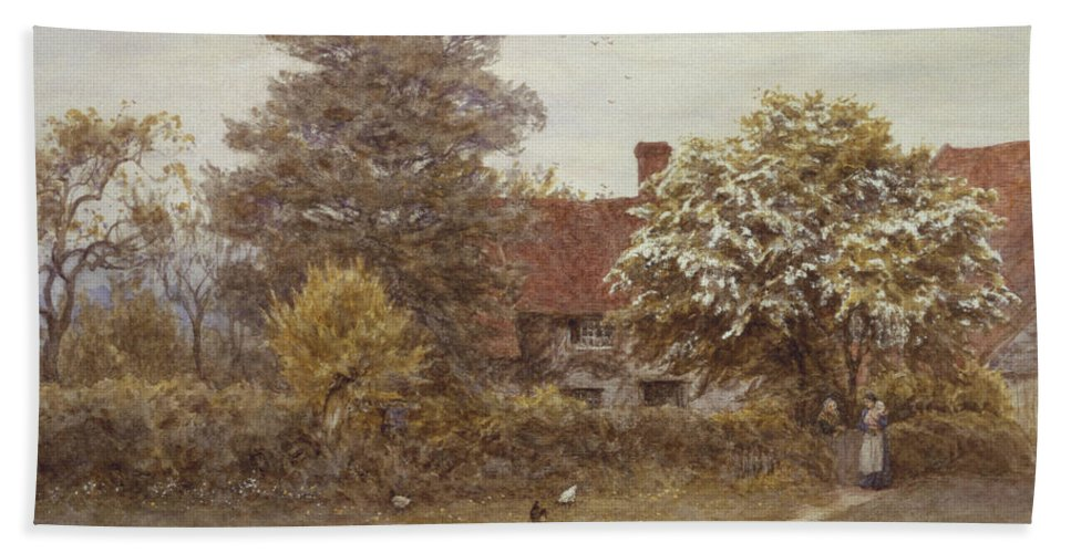 Blake's House Hand Towel featuring the painting Blake's House Hampstead Heath by Helen Allingham