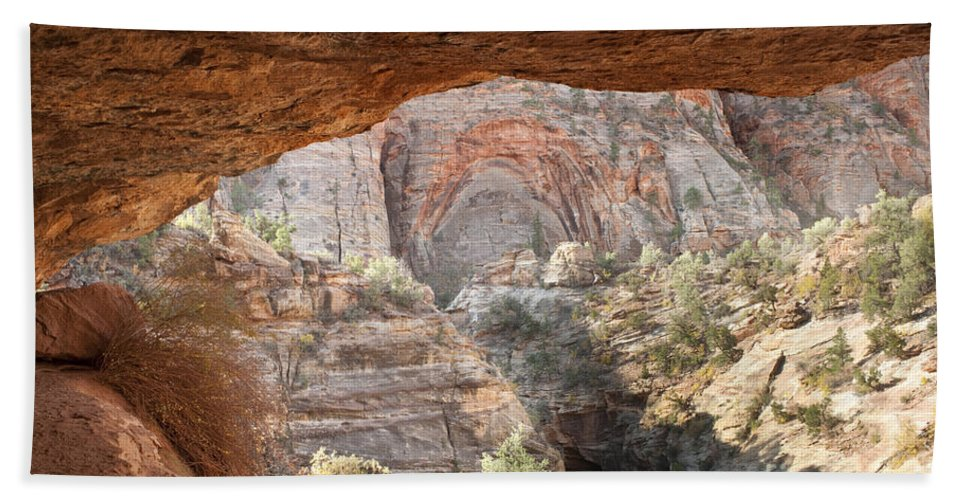 Zion Hand Towel featuring the photograph Blind Arch Overlook by Sandra Bronstein