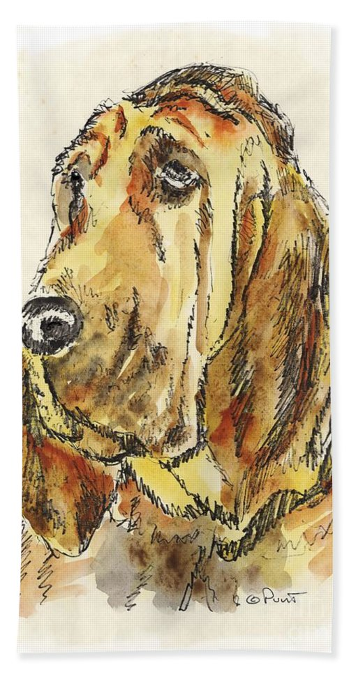 Blood Hound Bath Sheet featuring the painting Bloodhound-watercolor by Gordon Punt