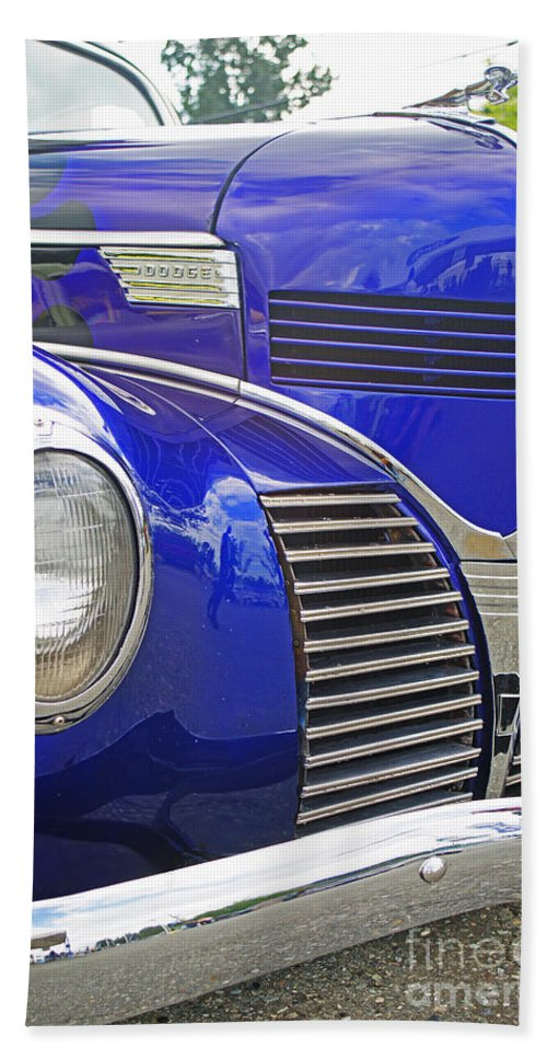 Custom Cars Bath Sheet featuring the photograph Blue And Chrome Nose by Randy Harris