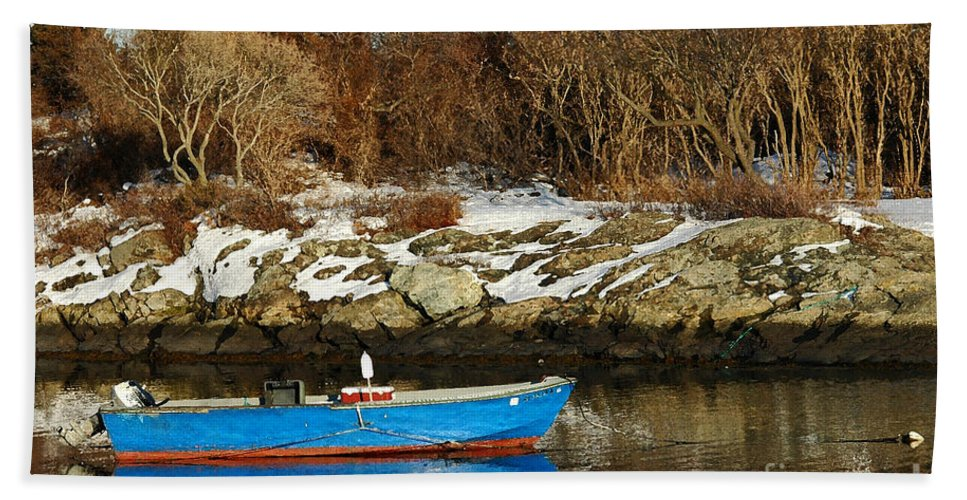 Boat Bath Sheet featuring the photograph Blue And Red Boat by Mike Nellums
