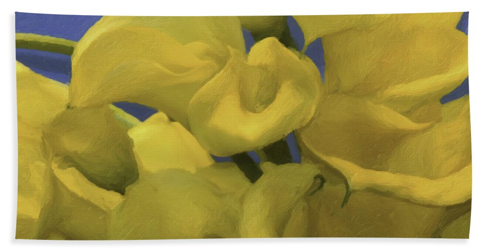 Longwood Garden Bath Sheet featuring the photograph Blue And Yellow by Trish Tritz