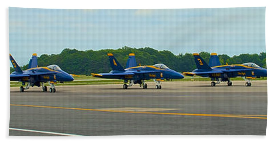 Blue Angels Hand Towel featuring the photograph Blue Angels On Tarmac by Mark Dodd