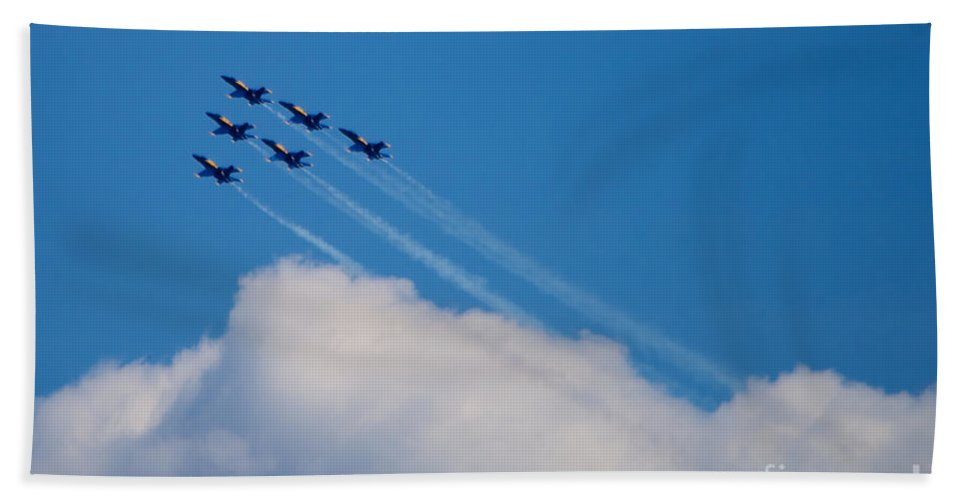 Blue Angels Hand Towel featuring the photograph Blue Angels Up And Away by Mark Dodd